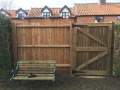 Featheredge fencing and gate