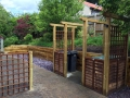 Sleeper walling and pergola construction